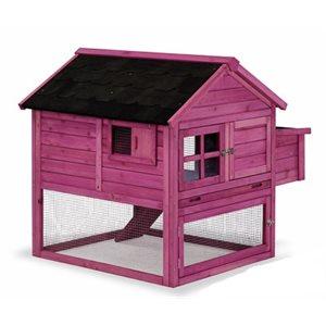 Chicken Coop MILAN, wood, Pink. 1.115 m x 1 m x 1 m
